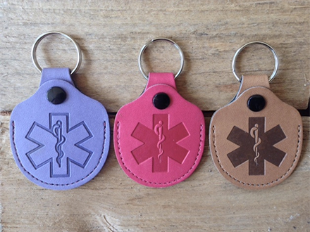 Leather Ice Medical ID Keyrings