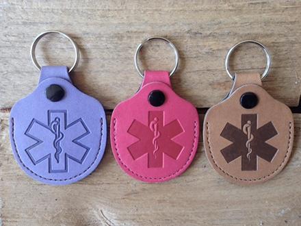 Leather Ice Medical ID Keyrings