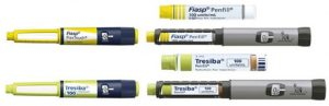 Current yellow Fiasp and light green Tresiba pen and cartridge
